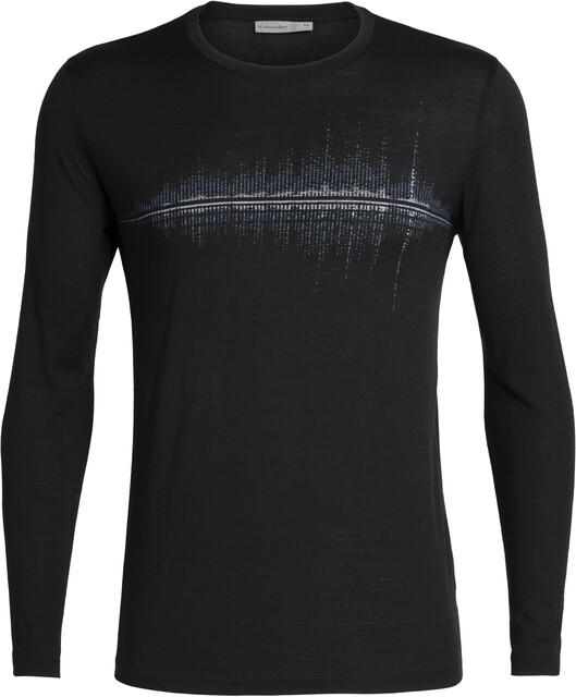 Icebreaker Tech Lite Snow Wave Langærmet T shirt Herrer, black
